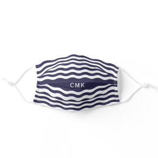 Chic Navy Blue Nautical Waves Monogram Adult Cloth Face Mask