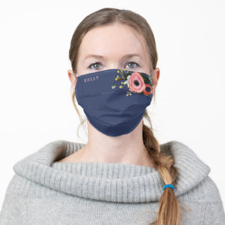 Chic Navy Floral Personalized Name Girly Custom Adult Cloth Face Mask