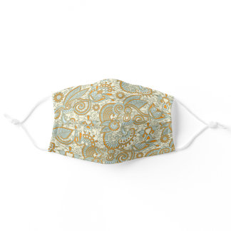 Chic Pale Blue Ivory Tan Brown Floral Paisley Adul Adult Cloth Face Mask