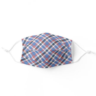 Chic Patriotic Blue Red White Tartan Plaid Pattern Adult Cloth Face Mask
