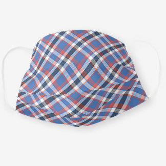 Chic Patriotic Blue Red White Tartan Plaid Pattern Cloth Face Mask