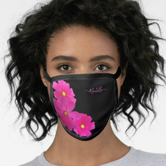 Chic Pink Flowers Black Photo Your Name Face Mask