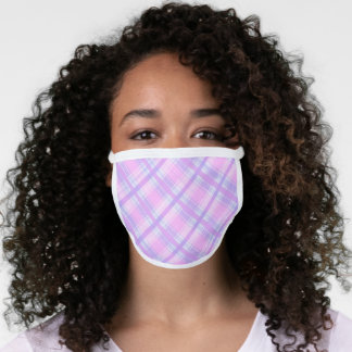 Chic Pink Purple Blue Tartan Plaid Checks Pattern Face Mask