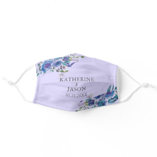 Chic Purple Floral Watercolor Wedding Adult Cloth Face Mask