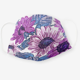 Chic Purple Pink and Denim Bold Daisy Cloth Face Mask