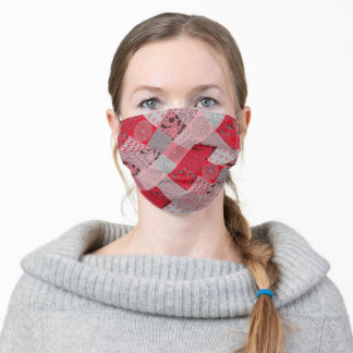 Chic Red and Grey Patchwork Lace Face Mask