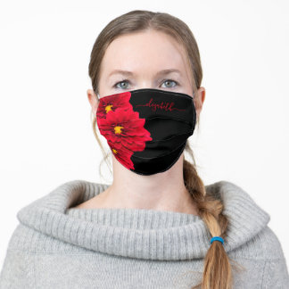 Chic red black Dahlia flowers florals monogram Adult Cloth Face Mask
