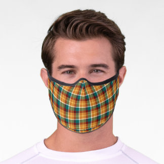 Chic Red Orange Teal Blue Tartan Plaid Pattern Premium Face Mask