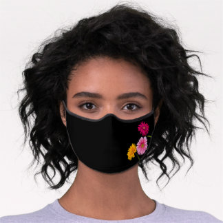 Chic Red, Pink & Yellow Gerbera Daisies, Black Premium Face Mask