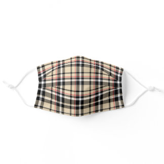 Chic Red Taupe Beige Black White Tartan Plaid Adul Adult Cloth Face Mask