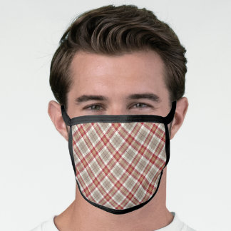 Chic Red Taupe Brown White Tartan Plaid Pattern Face Mask