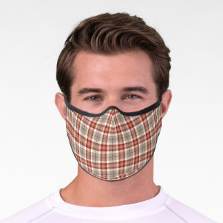 Chic Red Taupe Brown White Tartan Plaid Pattern Premium Face Mask