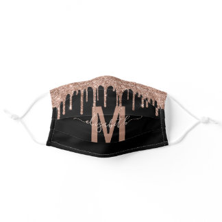 Chic Rose Gold Dripping Glitter Monogram Name Adult Cloth Face Mask