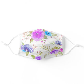 Chic, rustic, blue purple pink floral watercolor adult cloth face mask