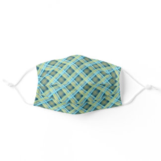 Chic Teal Blue Green Tartan Plaid Pattern Adult Cloth Face Mask