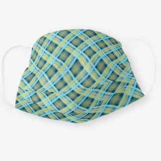Chic Teal Blue Green Tartan Plaid Pattern Cloth Face Mask