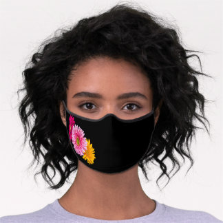 Chic & Trendy Gerbera Daisies, Red, Pink & Yellow Premium Face Mask