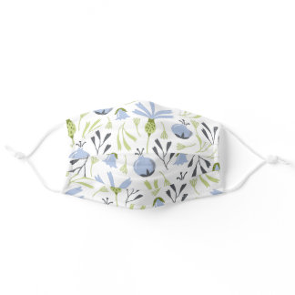 Chic Wildflower and Blueberry Botanical Floral Adult Cloth Face Mask