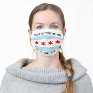 Chicago Flag w/ Custom Message in Black Text Adult Cloth Face Mask
