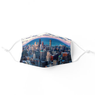 Chicago Skyline Cool USA City Adult Cloth Face Mask