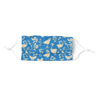 Chickens in Modern Folk-art style pattern Adult Cloth Face Mask