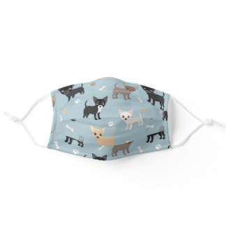 Chihuahua Paws and Bones Pattern Blue Adult Cloth Face Mask