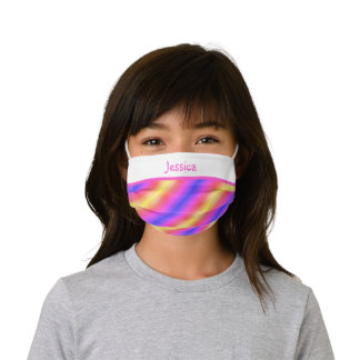 Child's Custom Name Pink Purple Yellow Kids' Cloth Face Mask