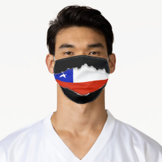 Chilean Flag | Faux Torn Out Look Adult Cloth Adult Cloth Face Mask