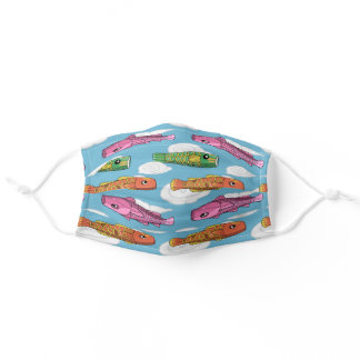 Chinese Fish Kite Pattern Adult Cloth Face Mask