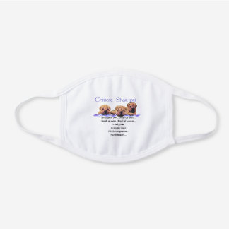 Chinese Shar-Pei White Cotton Face Mask