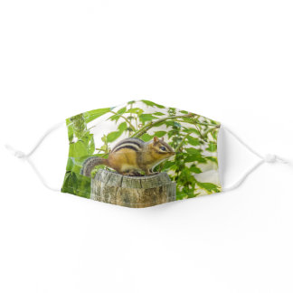 Chipmunk on a Fence Post Adult Cloth Face Mask