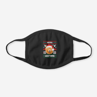 Chow Chow Merry Woofmas Christmas Protective Black Cotton Face Mask