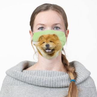 Chow Chow Painting - Cute Original Dog Art Adult Cloth Face Mask