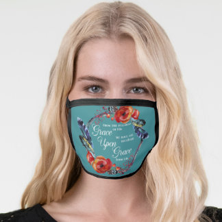 Christian Grace Upon Grace  John 1:16 Bible Floral Face Mask