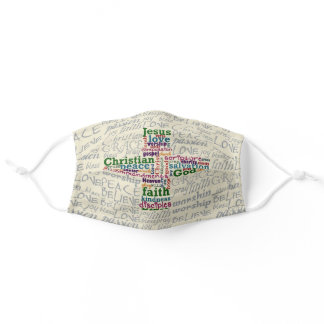 Christian Religious Word Art Cross Collage Adult Cloth Face Mask