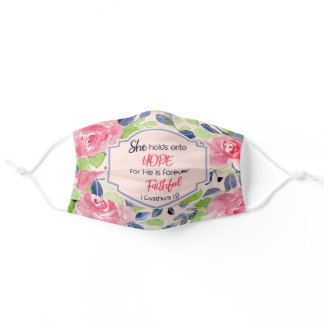 Christian She Holds onto Hope Pink Floral Bible Adult Cloth Face Mask