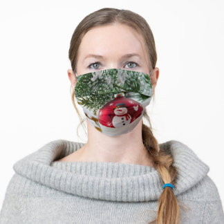 Christmas ball with a snowman adult cloth face mask