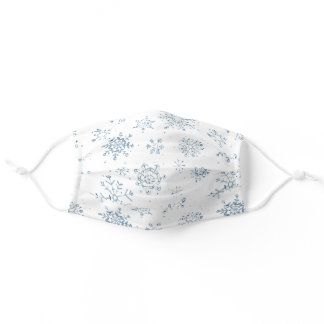 Christmas Blue Snowflake Watercolor Pattern Adult Cloth Face Mask