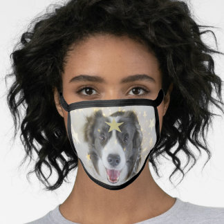 Christmas Border Collie dog with stars and lights Face Mask