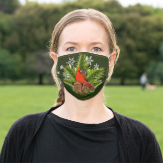 Christmas Cardinal with Pine Cones COVID19 Adult Cloth Face Mask