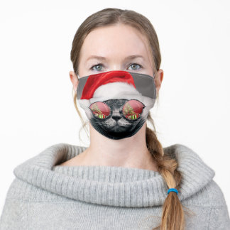 Christmas Cat With Sunglasses Adult Cloth Face Mask