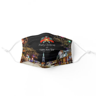 Christmas Celebration, bright lights and baubles Adult Cloth Face Mask