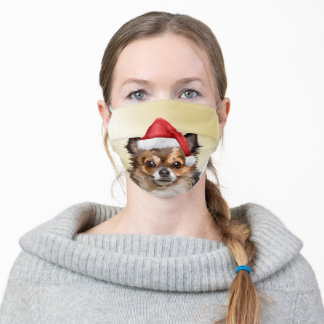 Christmas Chihuahua puppy with Santa hat Adult Cloth Face Mask