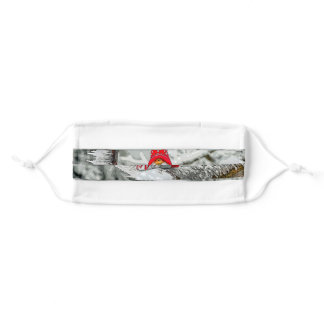 Christmas Elf On Snowy Branch Adult Cloth Face Mask
