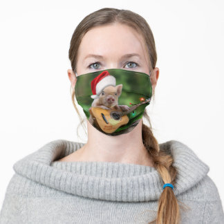 Christmas guitar pig adult cloth face mask