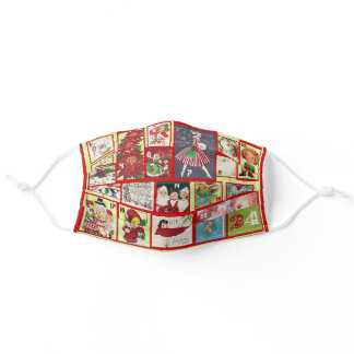 Christmas Holiday Vintage Advent Calendar Adult Cloth Face Mask