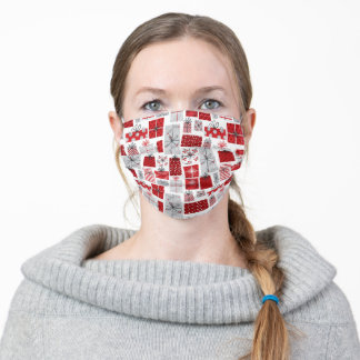 Christmas Holidays Festive Red Silver Modern Gifts Adult Cloth Face Mask