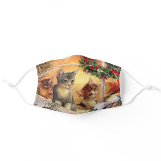 Christmas Kittens Birdwatching A Chickadee Adult Cloth Face Mask