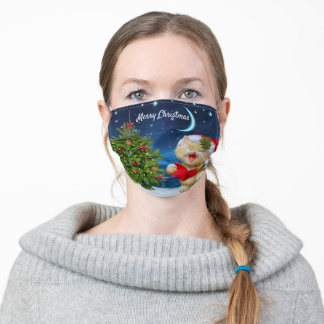 Christmas Kitty Cat Caroling to the Moon Comfort Adult Cloth Face Mask