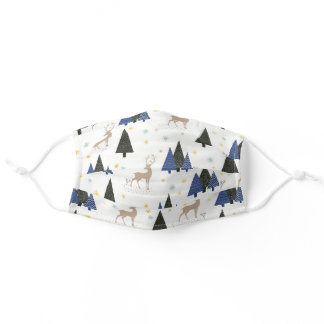 Christmas Pine Trees Deer Blue Green White Brown Adult Cloth Face Mask